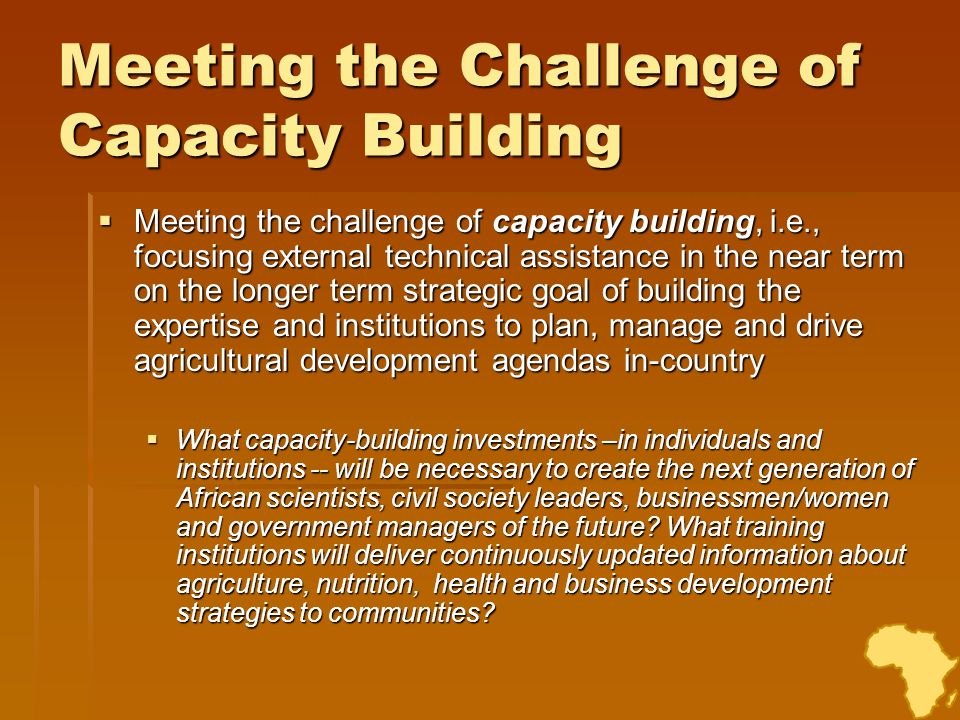 Meeting the Challenge of Capacity Building Meeting the challenge of capacity building, i.e., focusing external technical assistance in the near term o