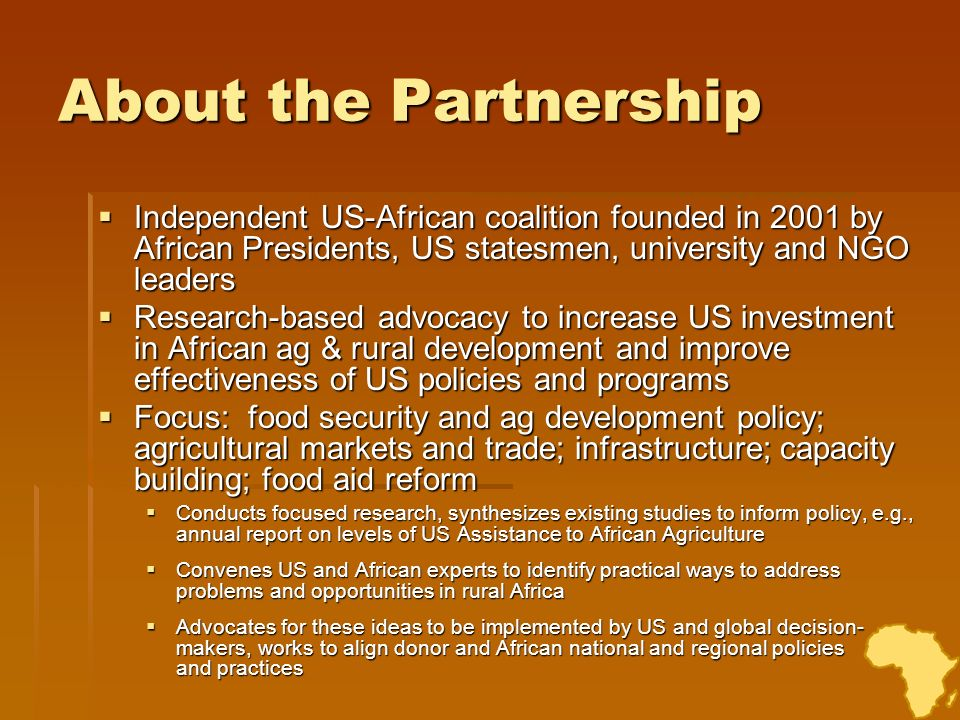 Reports on US Agricultural Development Assistance The Partnership has released two reports that examine levels and trends of U.S.
