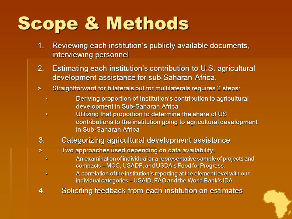 Scope & Methods 1.Reviewing each institutions publicly available documents, interviewing personnel 2.Estimating each institutions contribution to U.S.