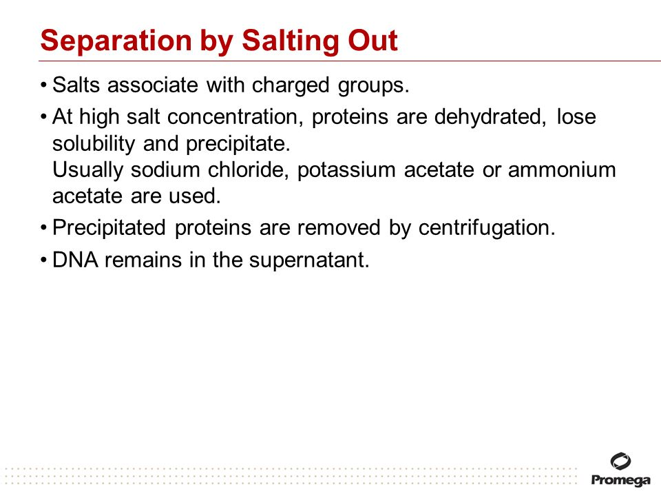 Separation by Salting Out Salts associate with charged groups. At high salt concentration, proteins are dehydrated, lose solubility and precipitate. U