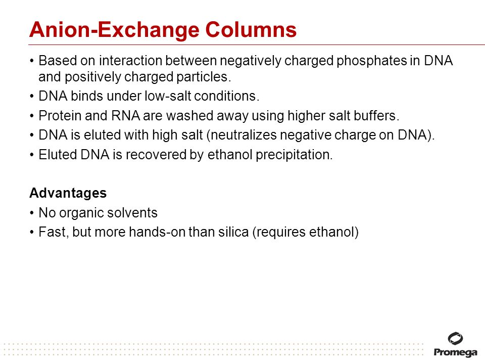 Anion-Exchange Columns Based on interaction between negatively charged phosphates in DNA and positively charged particles. DNA binds under low-salt co