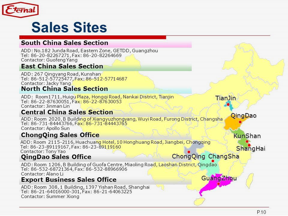 P.10 Sales Sites TianJin QingDao KunShan ChangSha GuangZhou South China Sales Section ADD: No.182 Junda Road, Eastern Zone, GETDD, Guangzhou Tel: 86-2