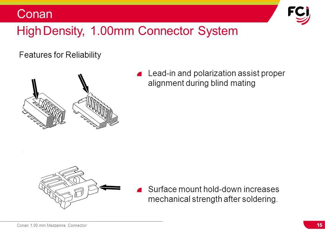 15 Conan 1.00 mm Mezzanine Connector Conan Features for Reliability High Density, 1.00mm Connector System Lead-in and polarization assist proper align