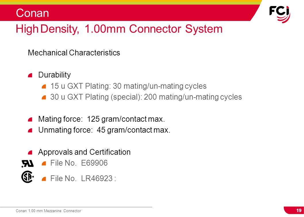 19 Conan 1.00 mm Mezzanine Connector Conan Mechanical Characteristics Durability 15 u GXT Plating: 30 mating/un-mating cycles 30 u GXT Plating (specia