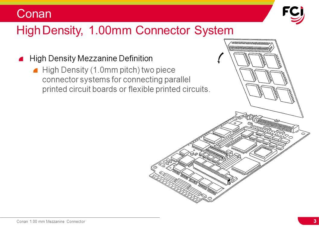 3 Conan 1.00 mm Mezzanine Connector Conan High Density Mezzanine Definition High Density (1.0mm pitch) two piece connector systems for connecting para