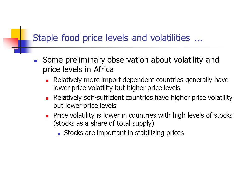 Staple food price levels and volatilities...