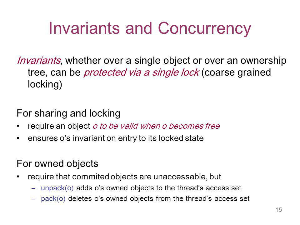 15 Invariants and Concurrency Invariants, whether over a single object or over an ownership tree, can be protected via a single lock (coarse grained locking) For sharing and locking require an object o to be valid when o becomes free ensures os invariant on entry to its locked state For owned objects require that commited objects are unaccessable, but –unpack(o) adds os owned objects to the threads access set –pack(o) deletes os owned objects from the threads access set