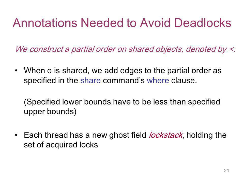 21 Annotations Needed to Avoid Deadlocks We construct a partial order on shared objects, denoted by.