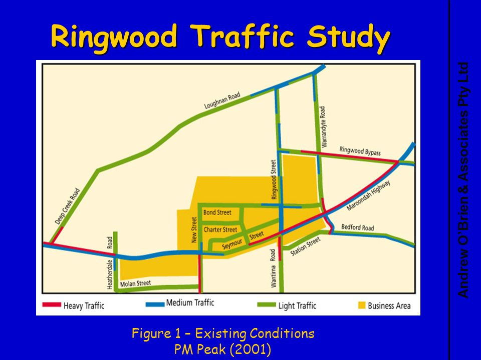 Andrew OBrien & Associates Pty Ltd Ringwood Traffic Study Figure 1 – Existing Conditions PM Peak (2001)