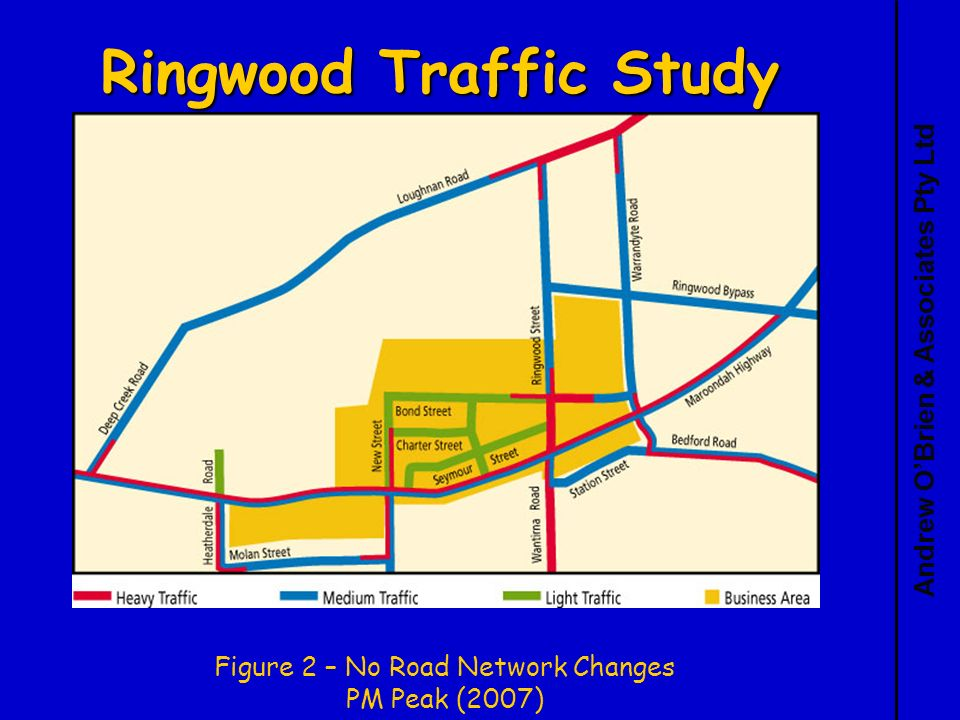 Andrew OBrien & Associates Pty Ltd Ringwood Traffic Study Figure 2 – No Road Network Changes PM Peak (2007)