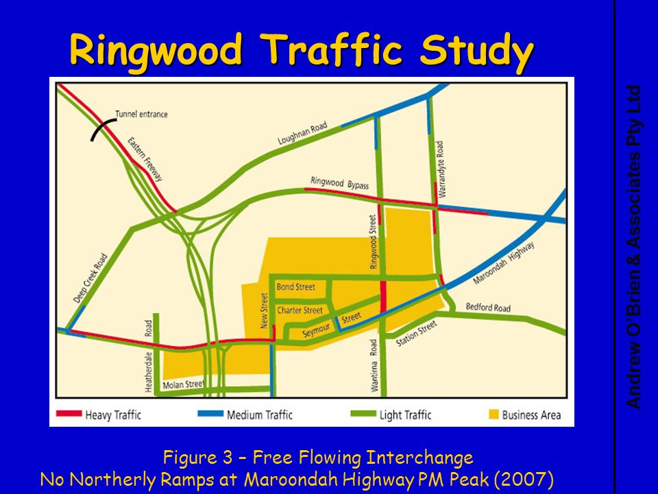 Andrew OBrien & Associates Pty Ltd Ringwood Traffic Study Figure 3 – Free Flowing Interchange No Northerly Ramps at Maroondah Highway PM Peak (2007)