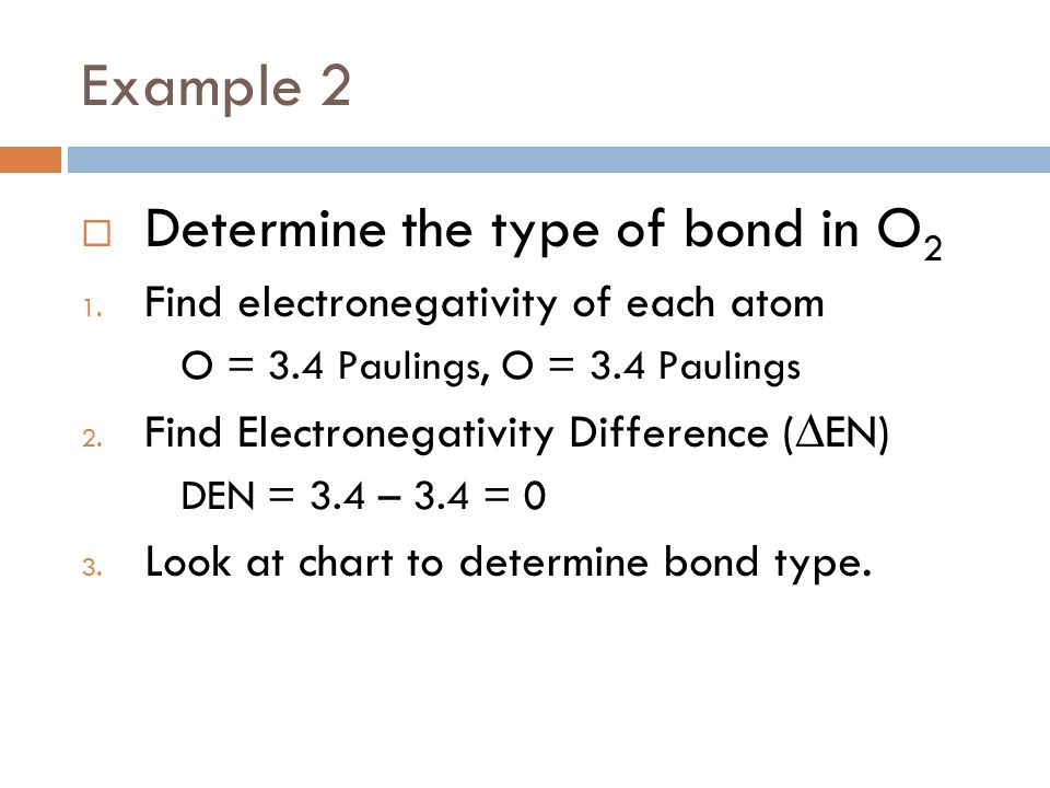 Example 2 Determine the type of bond in O 2 1. Find electronegativity of each atom O = 3.4 Paulings, O = 3.4 Paulings