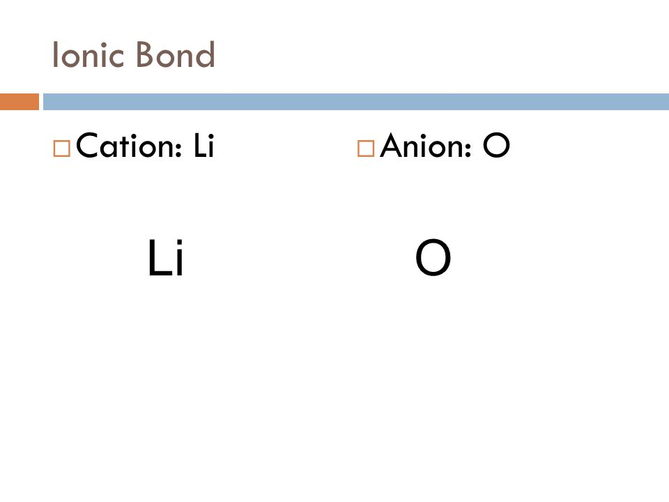 A compound made from Lithium and Oxygen How do we know if it is ionic or covalent? Metals and non-metals make ionic compounds Naming Ionic Compounds