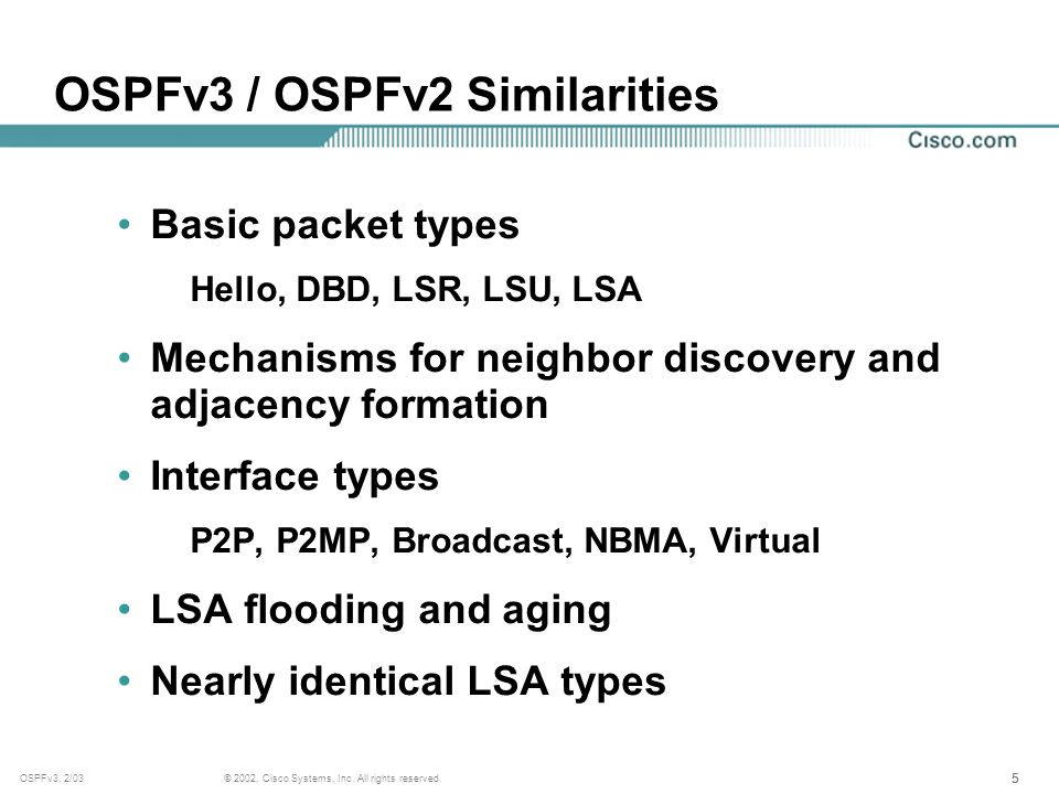 555 © 2002, Cisco Systems, Inc. All rights reserved.OSPFv3, 2/03 OSPFv3 / OSPFv2 Similarities Basic packet types Hello, DBD, LSR, LSU, LSA Mechanisms