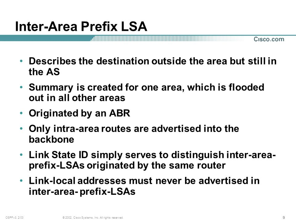 999 © 2002, Cisco Systems, Inc. All rights reserved.OSPFv3, 2/03 Inter-Area Prefix LSA Describes the destination outside the area but still in the AS