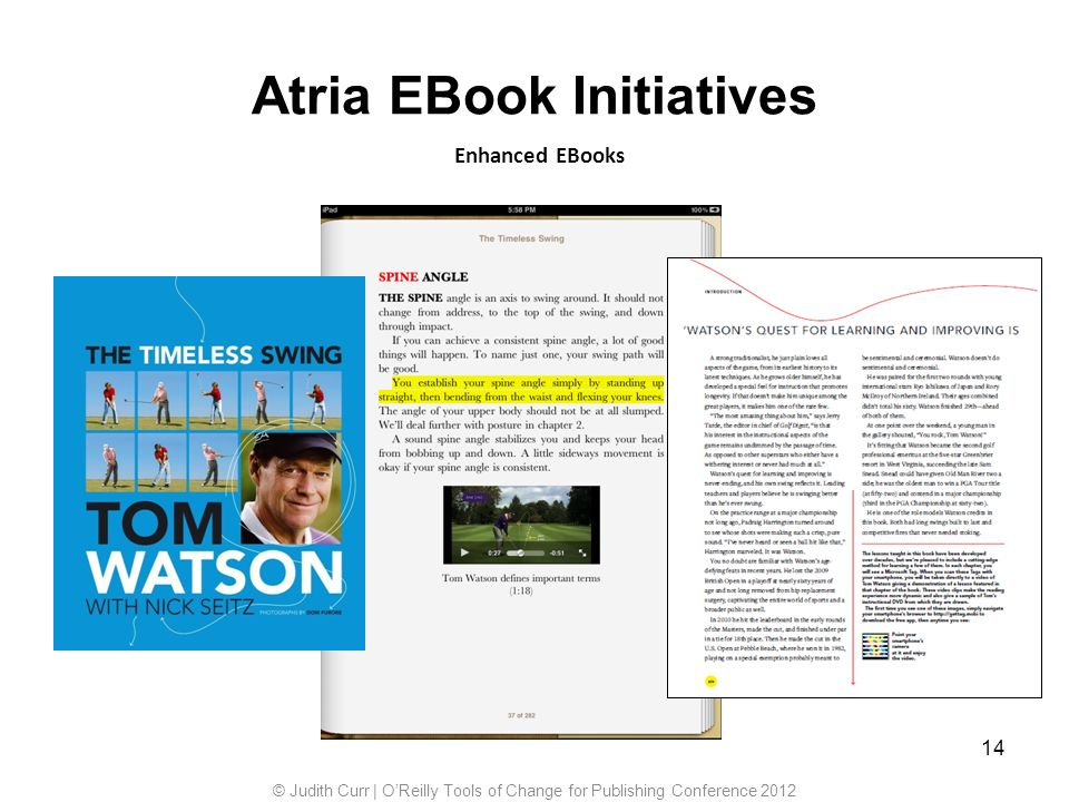 14 Enhanced EBooks Atria EBook Initiatives © Judith Curr | OReilly Tools of Change for Publishing Conference 2012