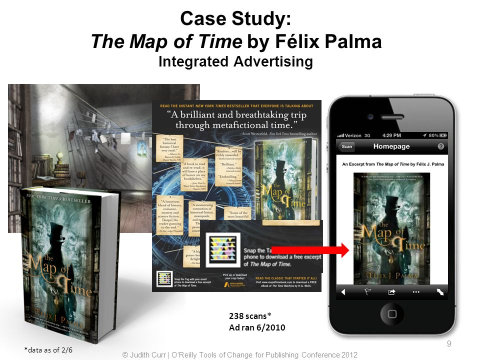 9 9 Case Study: The Map of Time by Félix Palma Integrated Advertising 238 scans* Ad ran 6/2010 *data as of 2/6 © Judith Curr | OReilly Tools of Change