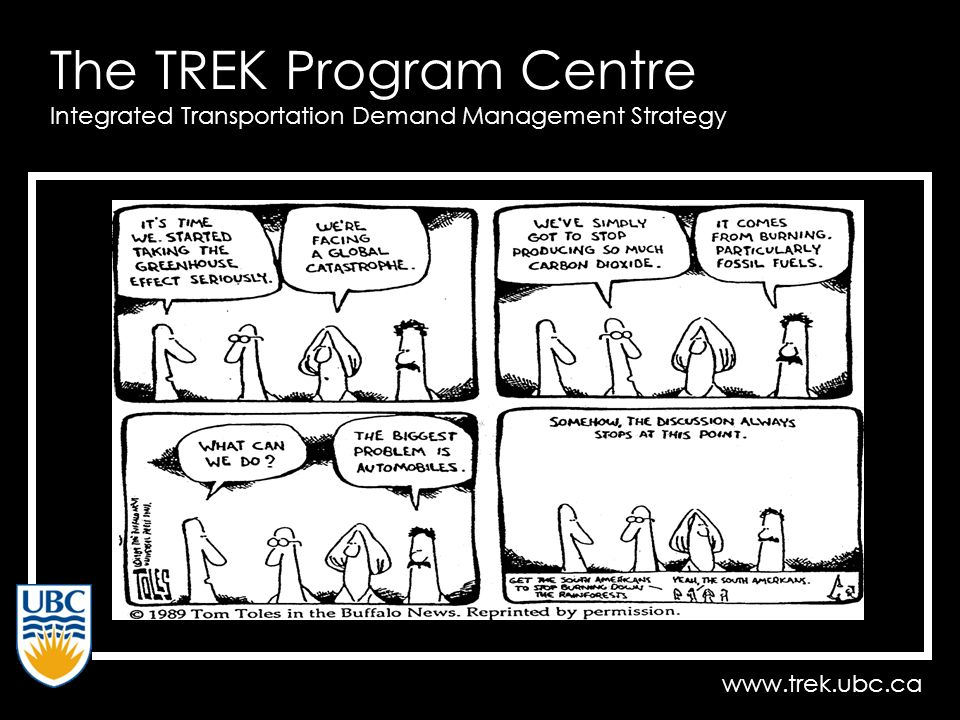 www.trek.ubc.ca The TREK Program Centre Integrated Transportation Demand Management Strategy