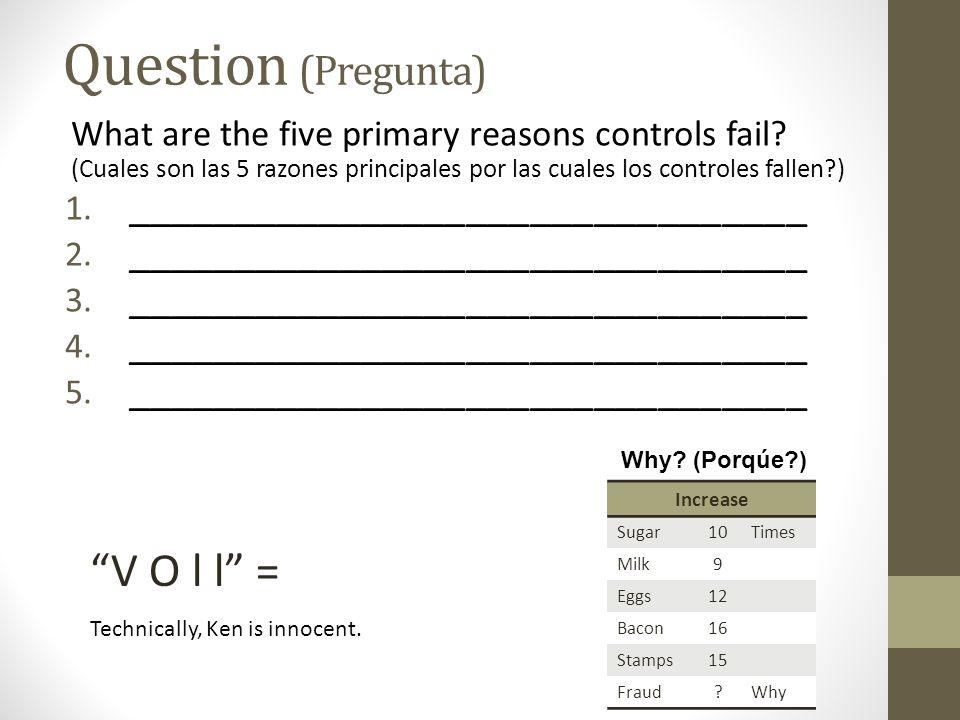 What are the five primary reasons controls fail? (Cuales son las 5 razones principales por las cuales los controles fallen?) 1. ______________________