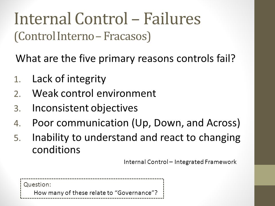 What are the five primary reasons controls fail? 1. Lack of integrity 2. Weak control environment 3. Inconsistent objectives 4. Poor communication (Up