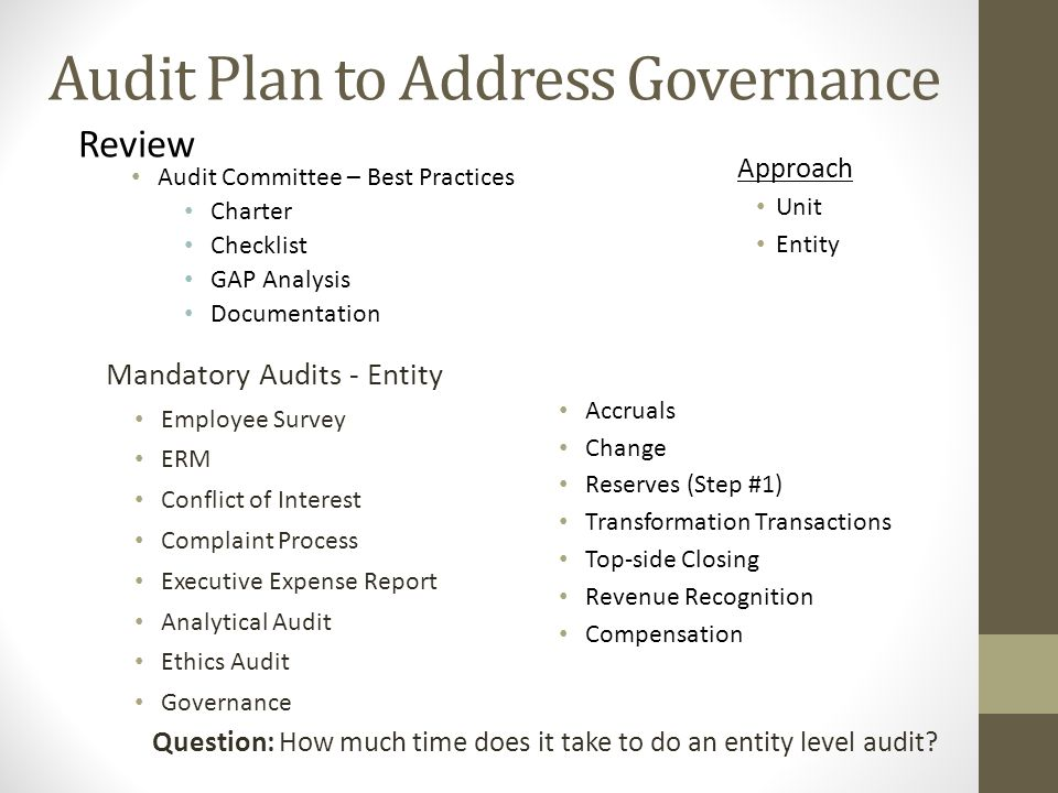 Mandatory Audits - Entity Employee Survey ERM Conflict of Interest Complaint Process Executive Expense Report Analytical Audit Ethics Audit Governance