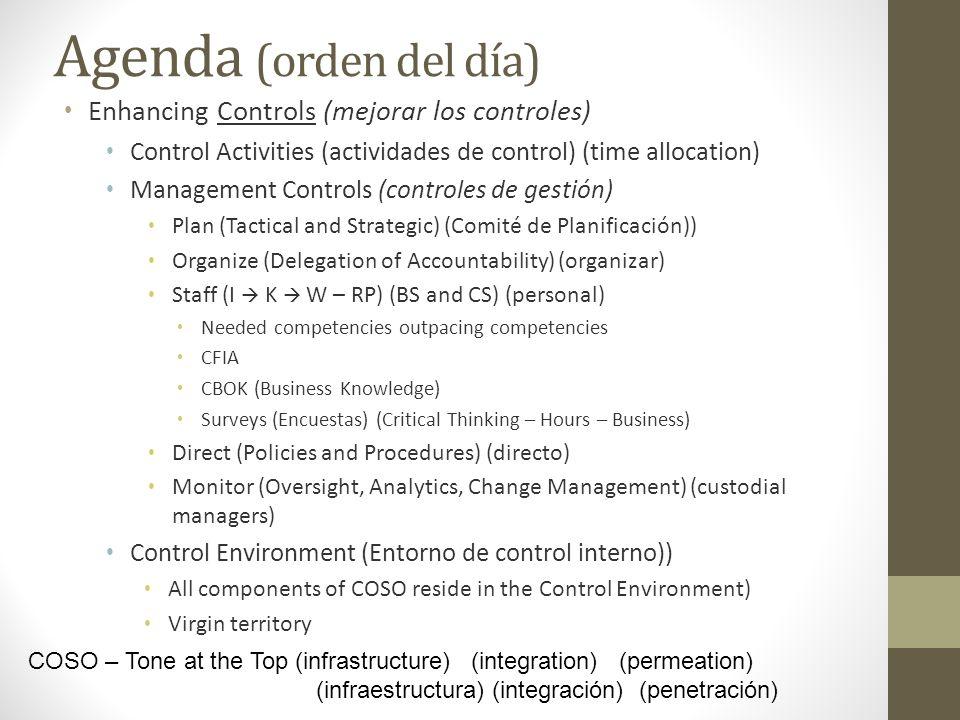 Agenda (orden del día) Enhancing Controls (mejorar los controles) Control Activities (actividades de control) (time allocation) Management Controls (c