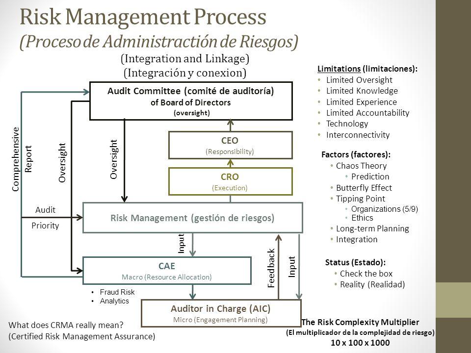 Risk Management Process (Proceso de Administractión de Riesgos) The Risk Complexity Multiplier (El multiplicador de la complejidad de riesgo) 10 x 100