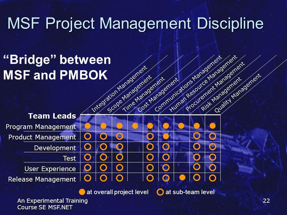 An Experimental Training Course SE MSF.NET 22 MSF Project Management Discipline Bridge between MSF and PMBOK Quality Management Procurement Management