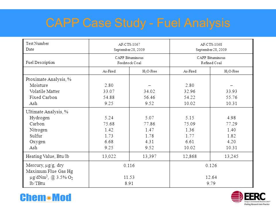 CAPP Case Study - Fuel Analysis Test Number Date AF-CTS-1067 September 28, 2009 AF-CTS-1068 September 28, 2009 Fuel Description CAPP Bituminous Feedst