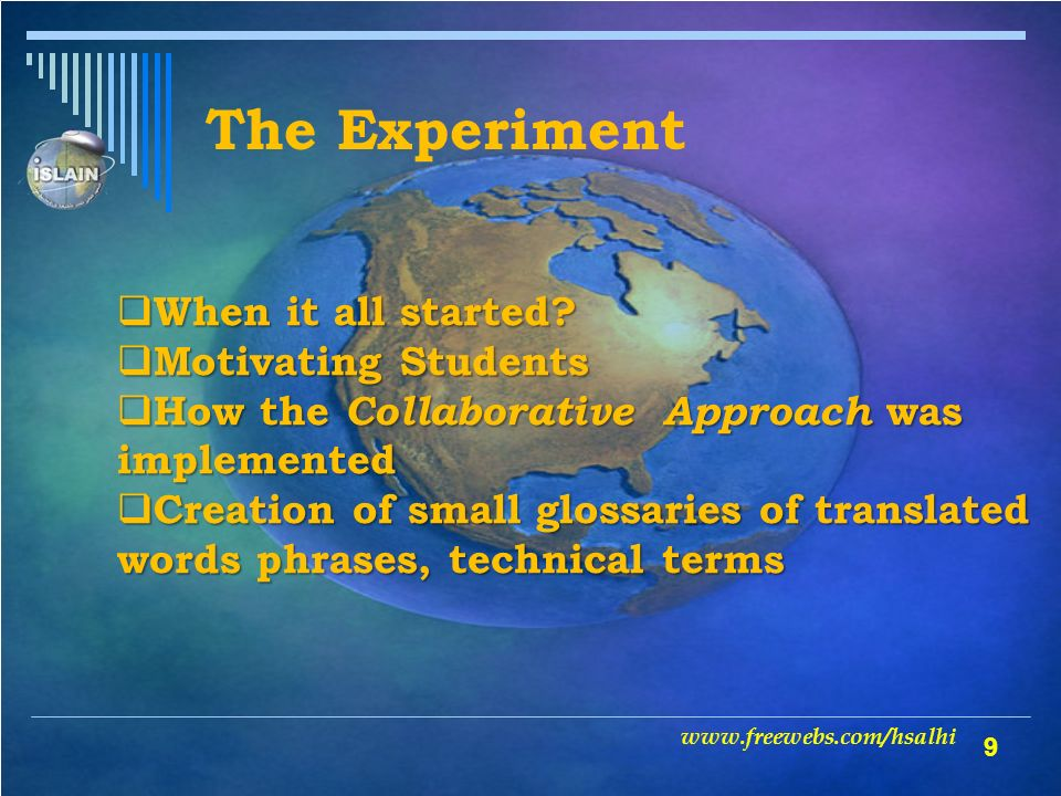 10 Results of the experiment Quantitative Results Qualitative Results www.freewebs.com/hsalhi