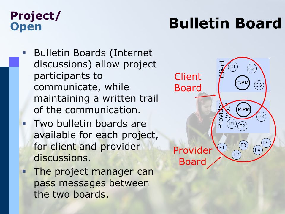 Project/ Open Bulletin Board Bulletin Boards (Internet discussions) allow project participants to communicate, while maintaining a written trail of the communication.