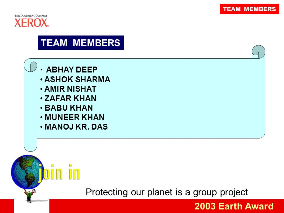Protecting our planet is a group project 2003 Earth Award ABHAY DEEP ASHOK SHARMA AMIR NISHAT ZAFAR KHAN BABU KHAN MUNEER KHAN MANOJ KR.