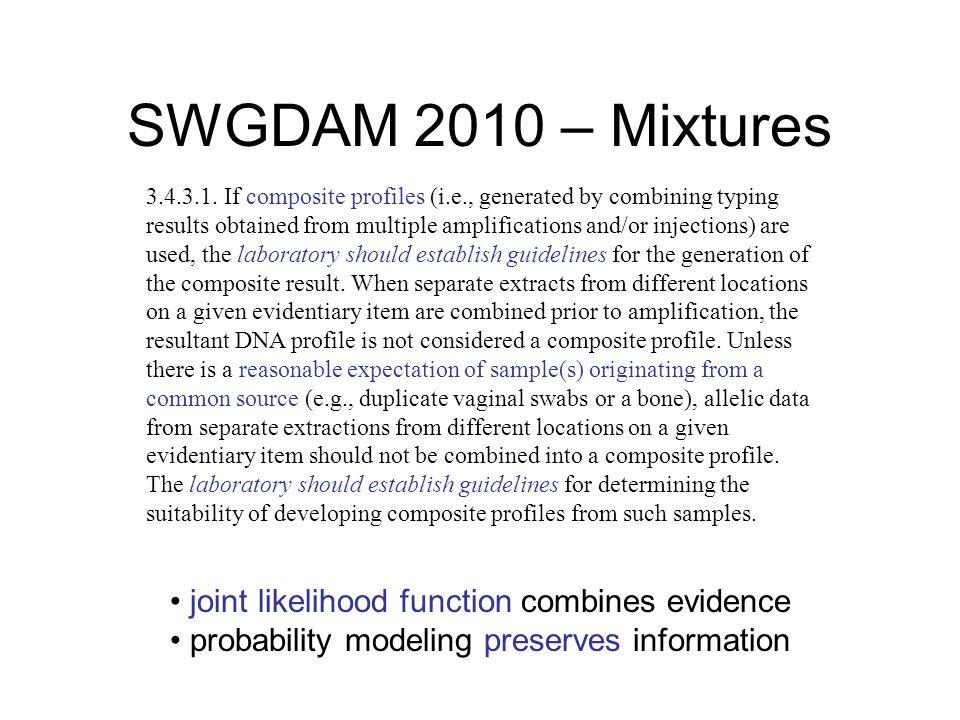 SWGDAM 2010 – Mixtures 3.4.3.1.