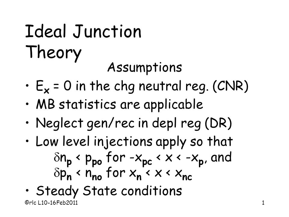 ©rlc L10-16Feb20111 Ideal Junction Theory Assumptions E x = 0 in the chg neutral reg. (CNR) MB statistics are applicable Neglect gen/rec in depl reg (