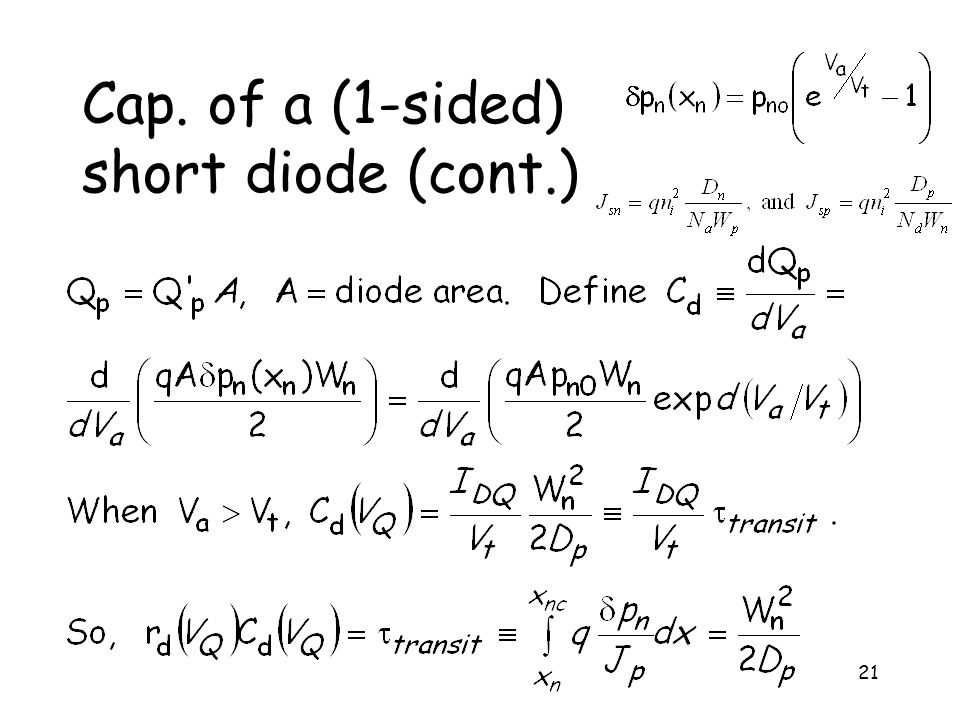 21 Cap. of a (1-sided) short diode (cont.)