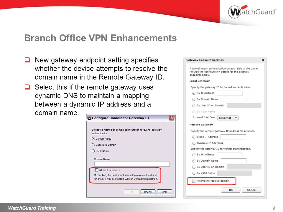 9WatchGuard Training Branch Office VPN Enhancements New gateway endpoint setting specifies whether the device attempts to resolve the domain name in the Remote Gateway ID.