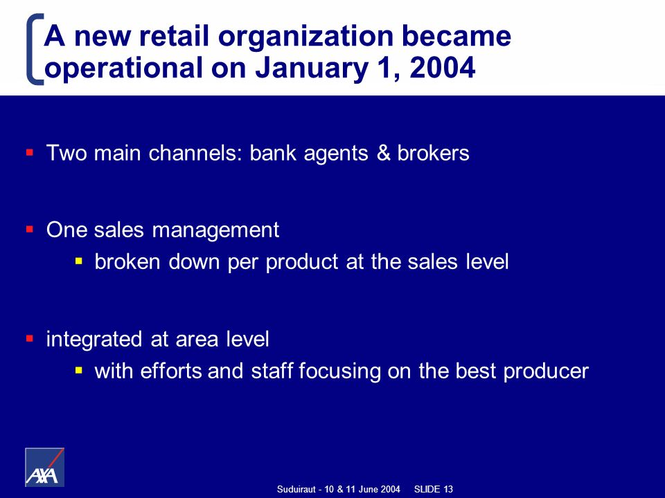 Suduiraut - 10 & 11 June 2004 SLIDE 13 A new retail organization became operational on January 1, 2004 Two main channels: bank agents & brokers One sales management broken down per product at the sales level integrated at area level with efforts and staff focusing on the best producer