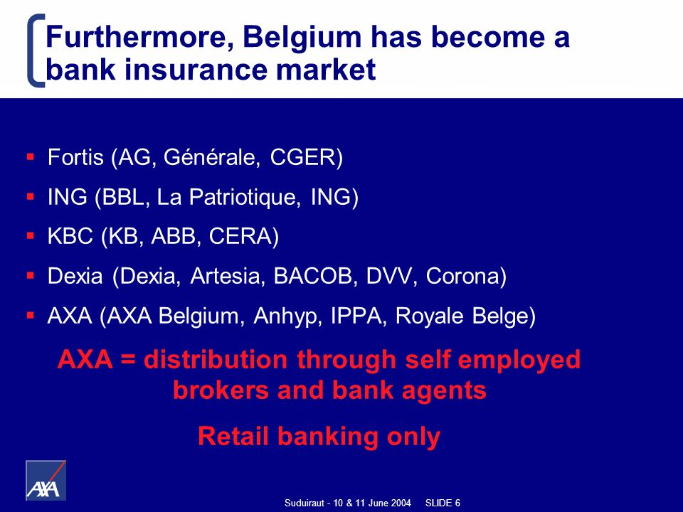 Suduiraut - 10 & 11 June 2004 SLIDE 6 Furthermore, Belgium has become a bank insurance market Fortis (AG, Générale, CGER) ING (BBL, La Patriotique, ING) KBC (KB, ABB, CERA) Dexia (Dexia, Artesia, BACOB, DVV, Corona) AXA (AXA Belgium, Anhyp, IPPA, Royale Belge) AXA = distribution through self employed brokers and bank agents Retail banking only