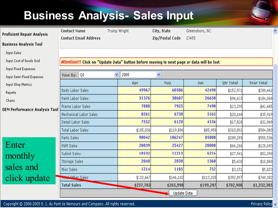 Business Analysis- Sales Input Enter monthly sales and click update