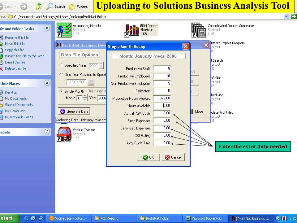Enter the extra data needed Uploading to Solutions Business Analysis Tool