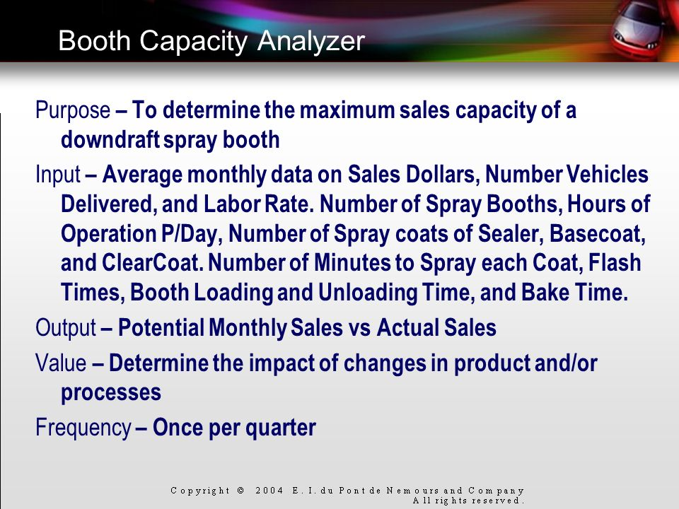 Booth Capacity Analyzer Purpose – To determine the maximum sales capacity of a downdraft spray booth Input – Average monthly data on Sales Dollars, Nu
