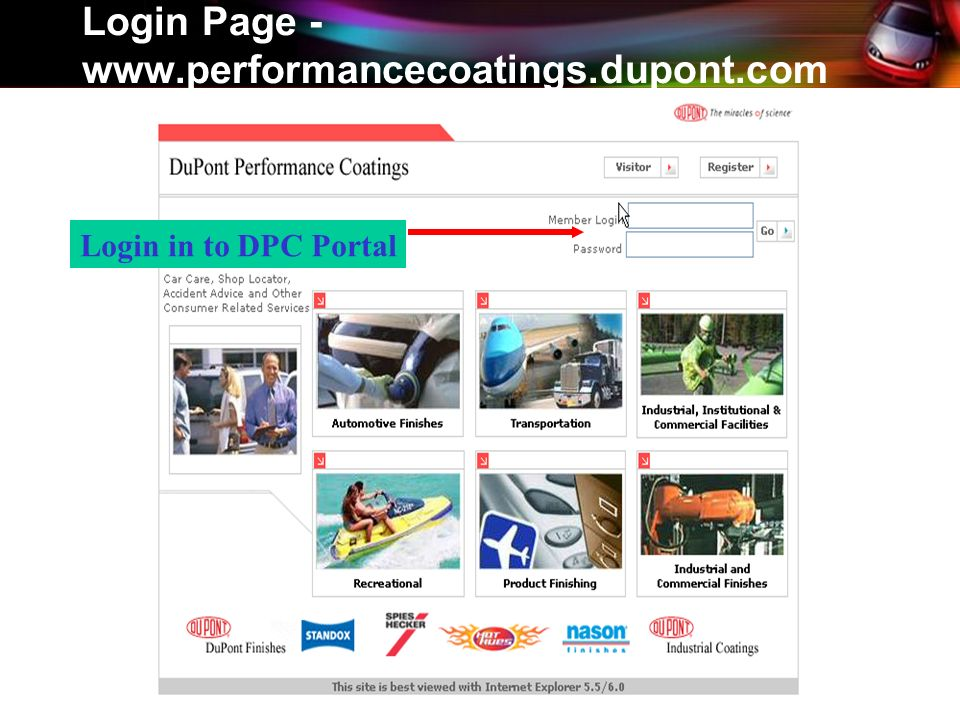 Login Page - www.performancecoatings.dupont.com Login in to DPC Portal