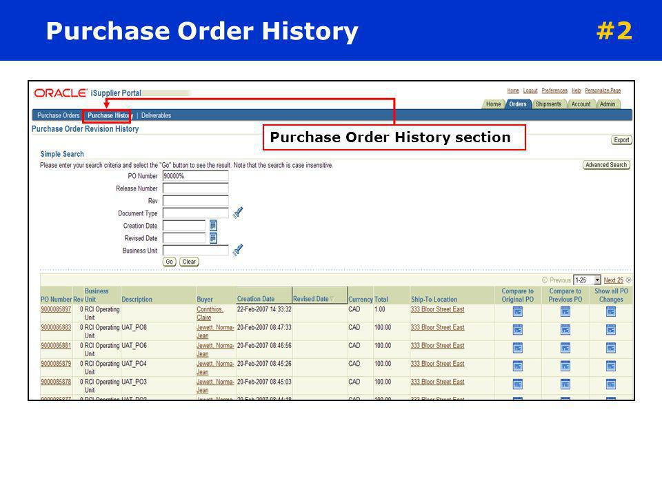ORDERS TAB The Purchase Orders screen displays details of the entire purchase order. iSupplier can follow the purchase orders throughout the entire pr