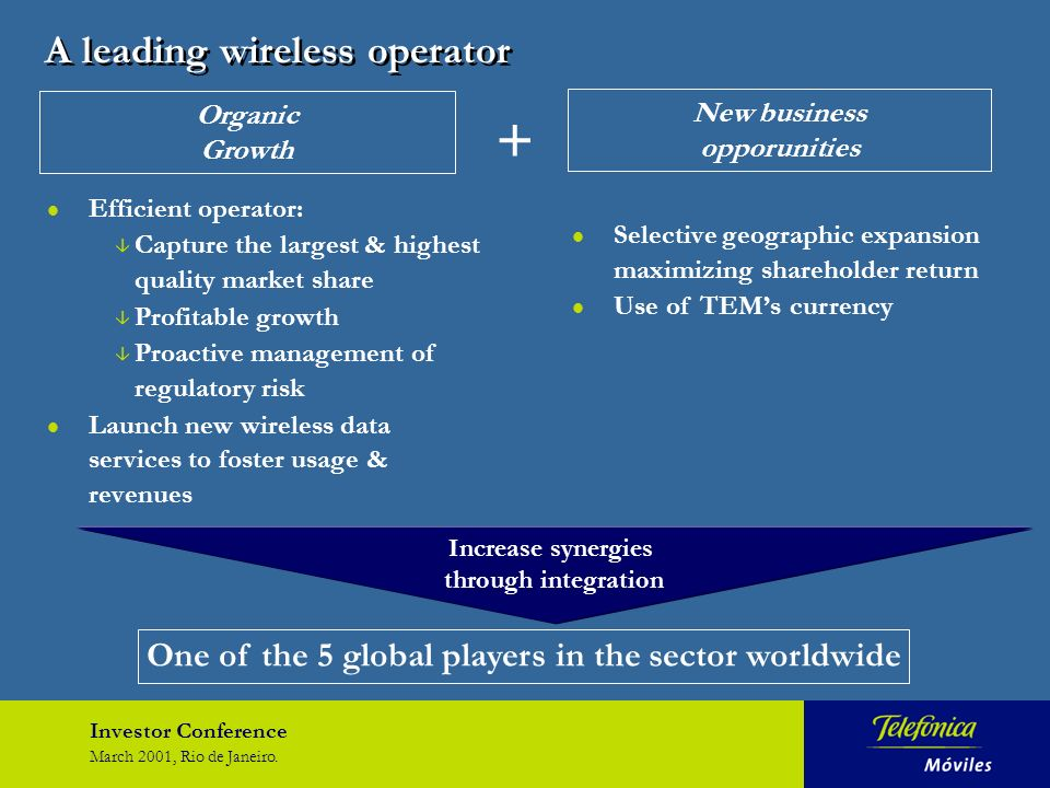 Investor Conference March 2001, Rio de Janeiro. l Efficient operator: â Capture the largest & highest quality market share â Profitable growth â Proac