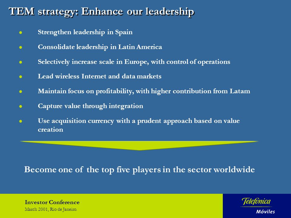 Investor Conference March 2001, Rio de Janeiro. TEM strategy: Enhance our leadership l Strengthen leadership in Spain l Consolidate leadership in Lati