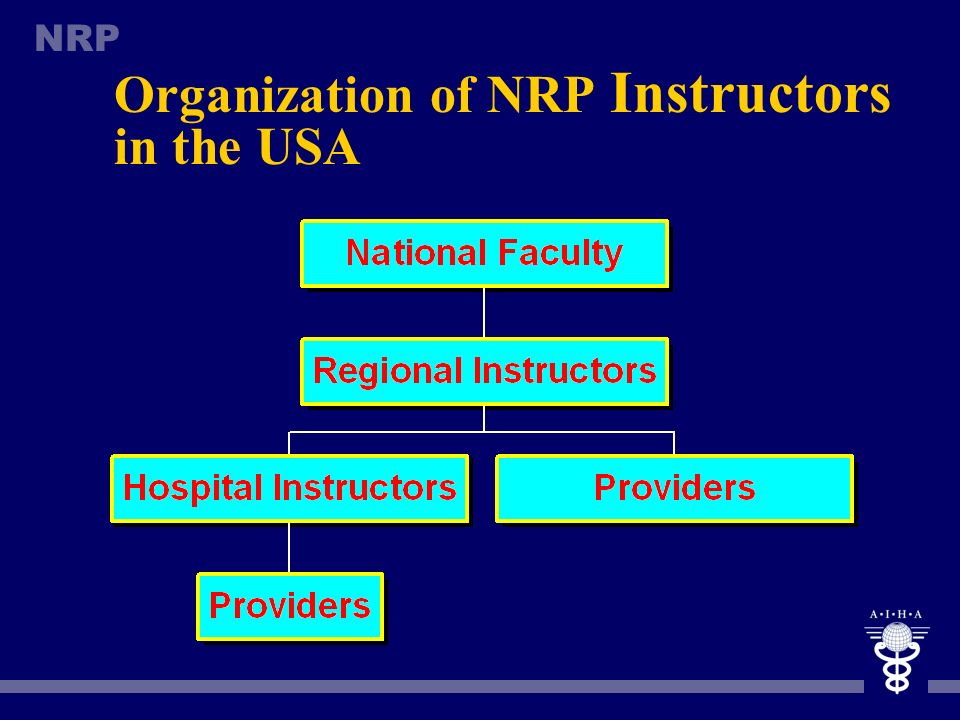 NRP NRP Instructors n The key person in the NRP is an instructor, who is responsible not only for provider training but for implementation of the Prog
