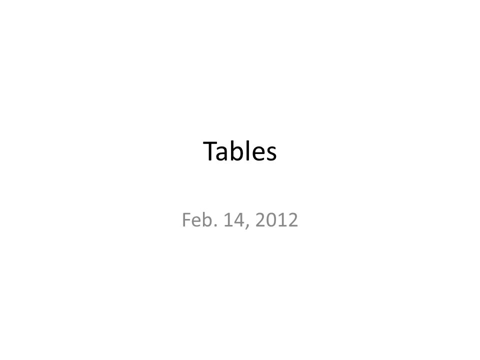 Tables Feb. 14, 2012
