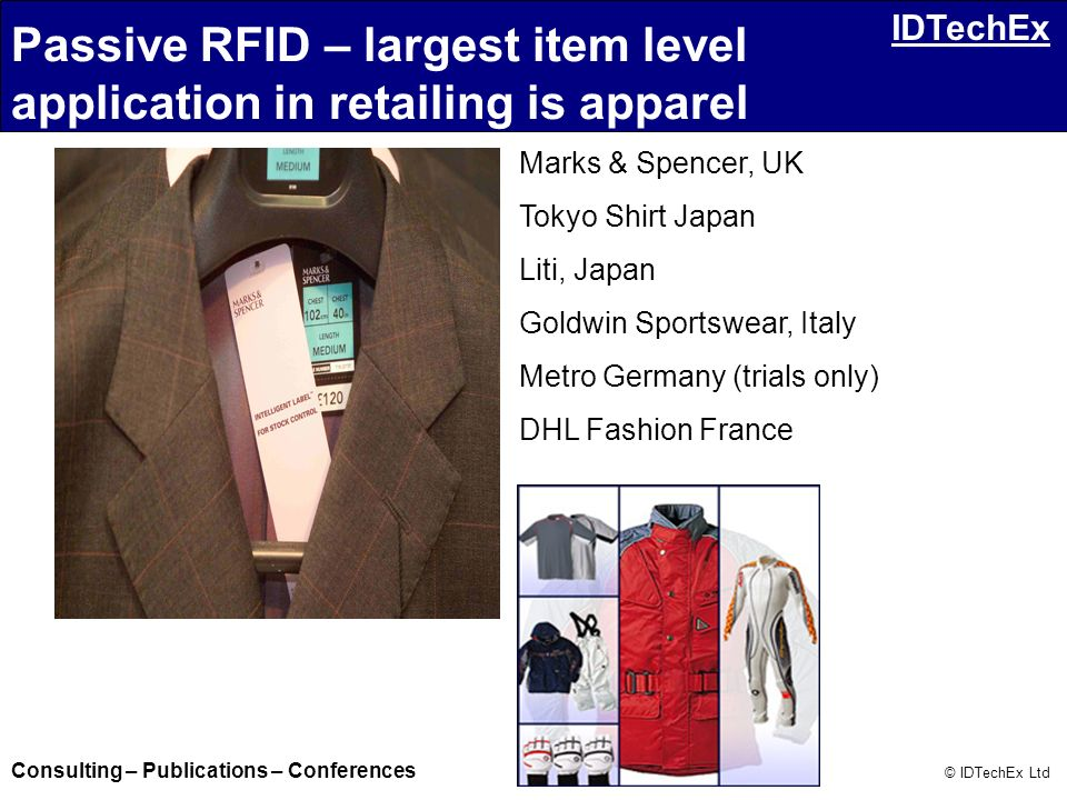Consulting – Publications – Conferences © IDTechEx Ltd IDTechEx Marks & Spencer, UK Tokyo Shirt Japan Liti, Japan Goldwin Sportswear, Italy Metro Germ