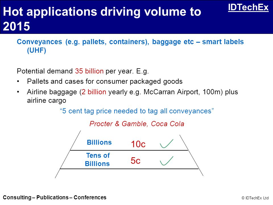 Consulting – Publications – Conferences © IDTechEx Ltd IDTechEx Conveyances (e.g. pallets, containers), baggage etc – smart labels (UHF) Potential dem