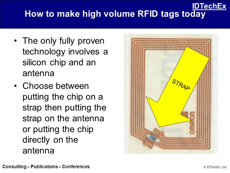 Consulting – Publications – Conferences © IDTechEx Ltd IDTechEx How to make high volume RFID tags today The only fully proven technology involves a si